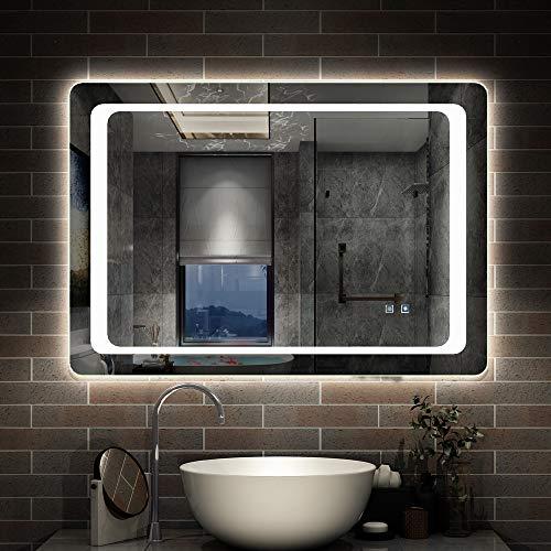 AicaSanitär LED Badspiegel 80×60 cm 6400K Kaltweiß, Touch, Anti-Beschlag Mond Serie Wandspiegel -