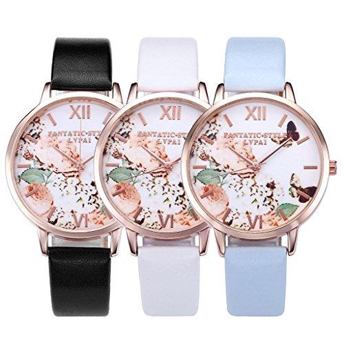 JSDDE Uhren,Vintage Schmetterling Blumen Damen Armbanduhr Basel-Stil Quarzuhr Lederarmband Rosegold Quarz Uhr,Weiss - 6