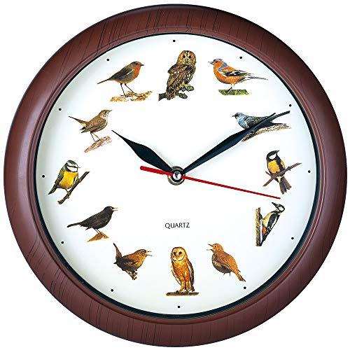 Deuba Wanduhr Kinder Uhr mit Vogelstimmen I 12 Vögel als Ziffern I Jede volle Stunde Vogelgesang I Lerneffekt I Holz Look