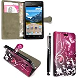 Kamal Star® Huawei Y6 PU Leather Cuero con Tarjeta de Crédito Slots Funda Wallet Carcasa Cover + Stylus (Purple Butterfly Book)