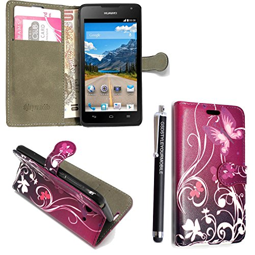 GSD STYLE YOUR MOBILE {TM} HUAWEI ASCEND Y550 VARIOUS FLIP PU LEDER CASE COVER HÜLLE ETUI TASCHE SCHALE + STYLUS (Purple Butterfly Book)