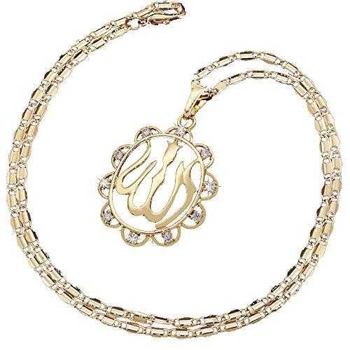 MCSAYS Muslim Islam Allah Akbar Halsketten Anhänger mit Kette, Kupfer Gold Halskette Herren-Schmuck Zubehör