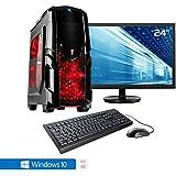 """Sedatech Casual Gaming PC Komplett-Paket AMD A8-7600 4x 3.1GHz (max 3.8Ghz), Radeon R7 Series, 8 GB RAM DDR3 1600Mhz, 1 TB HDD, USB 3.1, Wlan, Kartenleser, 80+ Netzteil. Rechner mit 23.6"""" TFT-LED Monitor, Maus & Tastatur und Windows 10 64 Bit"""