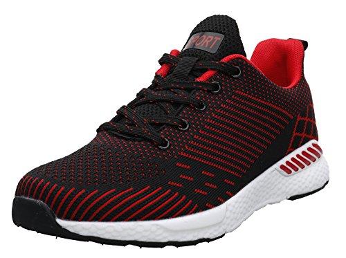 JOOMRA Damen Hochwertige Eva-Mittelsohle Fitness Schuhe Straßenlaufschuhe Sport im Freien Herren Jungen Mädchen Frauen Männer Sneaker Rot Schwarz Weiß 38 EU (39 - Freien Im Rot-gewebe