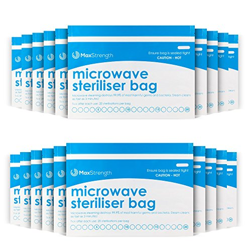 Microwave Steriliser Bags Premium 10pc Pack by Max Strength, Large & Durable Steam Bags for Baby Bottles, Soothers, Teethers & Training Cups, 20 Uses Per Bag, Marking System, Chemical Free & Safe Zone