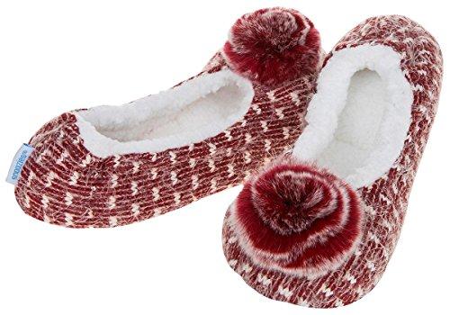 Snoozies Hausschuhe Weiche Pointe Ballerina Damen, UK 3/45/66/7 Burgunderrot