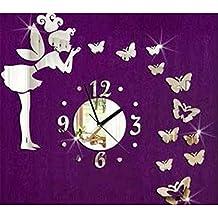 Kicode Stile moderno Fata di farfalla Decorazione domestica dell'autoadesivo della parete dell'orologio della parete del fai da te Camera Da Letto Soggiorno Camera