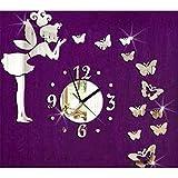 Wanduhr, kleine Fee Spiegel Uhr Schmetterling Acryl für Schlafzimmer Dekoration Wandaufkleber Diy