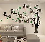 Guangmu Wandaufkleber mit Bilderrahmen 3D Wandtattoos Wandsticker Speicher Foto Acryl Baum Sticker für Hause Dekorationen Kunst (Grün Links, M(210*150CM))