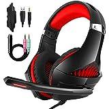 Casque Gaming, Casque Laxus Gaming avec microphone pour PS4 / Nintendo Switch (Audio) / PC / Contrôleur / Téléphone portable - Contrôle du volume facile avec éclairage LED Jack 3,5 MM (GM-5 Rouge)