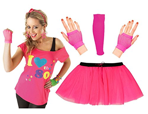 Women I Love The 80s Print Pink T Shirt, Tutu Skirt Gloves, Leg warmers