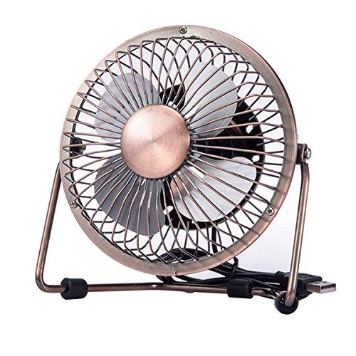 Xingzhao 4 Zoll Retro Mini USB Ventilator desktop Lüfter Neigbar Für Den Schreibtisch Klein,Kompakt Und Kraftvoll,Starker Wind,Mini-Ventilator,Mini-Lüfter,Schreibtisch-Ventilator,Tisch-Ventilator(Bronze)