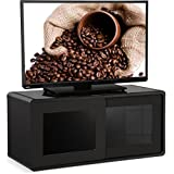 """Centurion Supports Nora Gloss Black with Gloss Black Beam-Thru Glass Sliding Doors Remote Friendly 26""""-52"""" LED/ OLED / LCD TV Cabinet"""