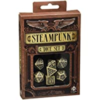 Q-Workshop SSTE18 - Steampunk Dice Beige/Black 7 Stück