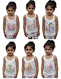 Northern Miles White Toddlers Regular Fit Cotton Printed Sleevless Slips/Vest/Sando Innerwear/Camisoles for Kids/Girls Pack of 6