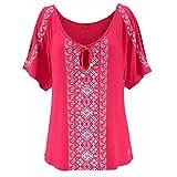 OSYARD Damen Große Größe Katze Printing Off Schulter Shirt Kurzarm Tops Bluse(EU 52/2XL, Hot Pink)
