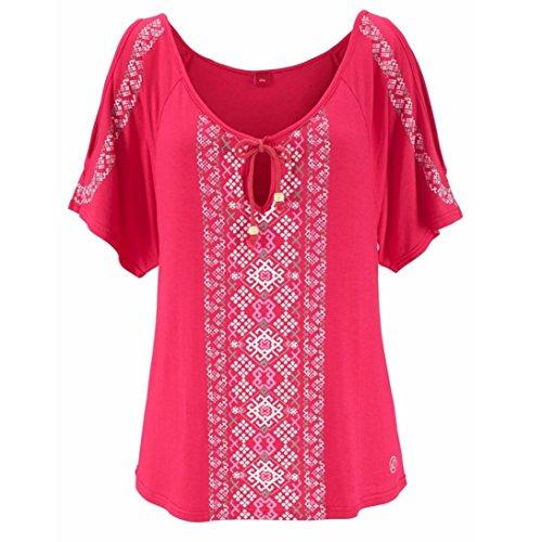 OSYARD Damen Große Größe Katze Printing Off Schulter Shirt Kurzarm Tops Bluse(EU 52 / 2XL, Hot Pink)