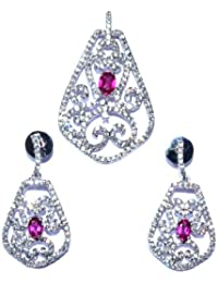 Parshva 4.9' White Polish Pendant Set With Pink Stone For Women