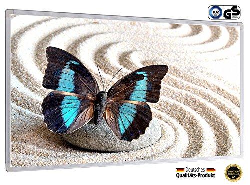 Infrarotheizung mit Digitalthermostat Elektroheizung Bildheizung mit Stecker für Steckdose - GS TÜV Süd zertifiziert - neuste Technik - doppelte Sicherung - 5 Jahre Garantie - Heizprinzip der Sonne (130 Watt, Schmetterling blau schwarz im Sand)