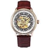 KS Reloj de Pulsera para Hombres, Caja de Acero Inoxidable, Esqueleto mecánico automático Correa de Cuero marrón KS385