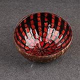 Questquo Colourful Natural Coconut Shell Bowl Eco-Friendly Handicraft Art Work Decorations Color Orange Red