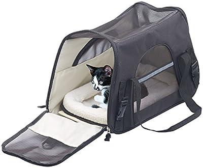 Sweetypet Hunde Transporttasche: Hand- & Auto-Transporttasche für Haustiere bis 8 kg, Größe L, Schwarz (Transporttasche für Katze)