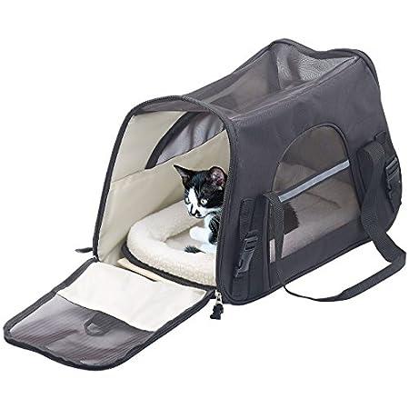 Sweetypet Hand- & Auto-Transporttasche für Haustiere bis 8 kg, schwarz (Katzentransporttasche)