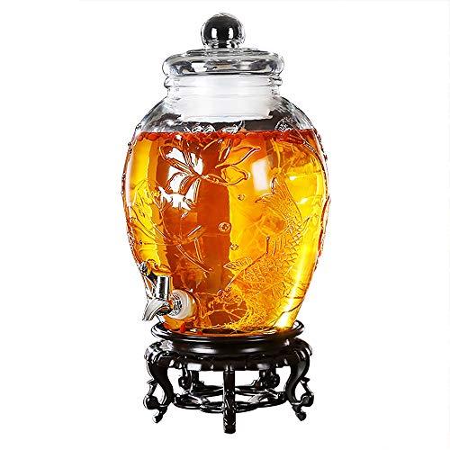 KTYXDE Weinglas Dispenser Saft Bier Kaffee Tee Getränk Familie Bar Party Trinkbrunnen 6L / 8L Getränkespender (Farbe : Stainless Steel-Resin Base, größe : 6L)