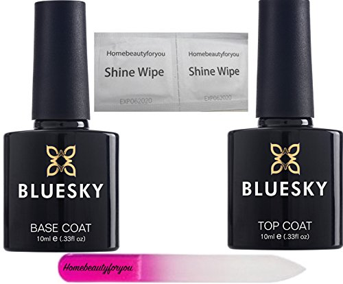 BLUESKY Top und Base Coat Nail Gel Polish UV-LED-Soak Off Plus homebeautyforyou Crystal Glas Nagelfeile Plus 4 Glanz Tücher