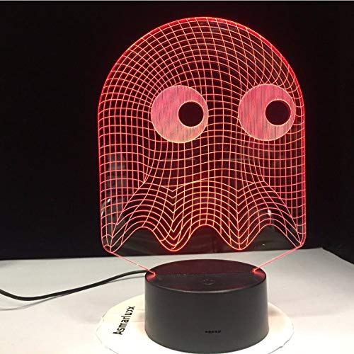 """Shuyinju 3D Led Nachttischlampe 7 Farben Ã""""ndern Neuheit Beleuchtung Kind Kinder Geschenk Pacman Nachtlicht"""