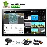 10,1 pouces Android 7.1 Head Unit Double Din au tableau de bord voiture lecteur DVD Quad Core GPS voiture stéréo Récepteur radio Bluetooth Support / Wifi / FM / AM / SD / USB / AUX-in / Caméra arrière Entrée / 1080p + Caméra Wirelee