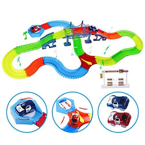 Kuultoy Tracks Magiques Circuit de Voiture Flexible, Magic Circuit Voiture pour Enfants de 3 Ans, Track Car Magic avec Design Modulable, 220 Pièces Rails + 2 Voitures Lumineuse + Accessoires