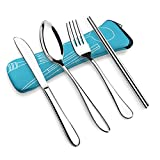 OFUN Camping Cutlery Set, 4 Pieces Stainless Steel Travel Flatware Set with Neoprene Case, Knife Fork Spoon Chopsticks Set, Portable Travel Silverware Set, Reusable Lunch Box Utensils (Sky Blue)