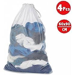 DoGeek Sac à Linge - Filets de Lavage Sac a Linge-Sacs de Blanchisserie pour Protèger Les Vêtements à Laver en Machine - Blanc