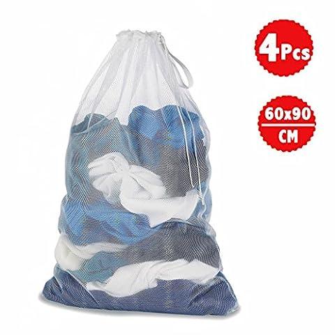 Wäschesack, Mesh Kleidung - Für Waschmaschinen - 60 x 90 cm (60 x 89,9 cm)-weiß - 4 PCS - WildAuto