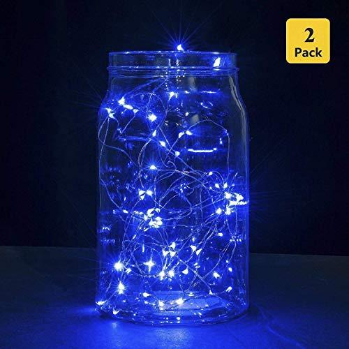 Lichterkette B-right 2er Pack 30er LED Lichterketten mit Batterie, batteriebetrieben, Blau, Lichterkette innen, Lichterkette für Zimmer Kinderzimmer Weihnachten Halloween Weihnachtsbaum Hochzeit