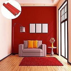 45cmx10M Imperméable Papier Peint Auto-Adhésif Trompe l'oeil Stickers Autocollant Muraux Décoration Murale pour Chambre Salon Meuble, Rouge
