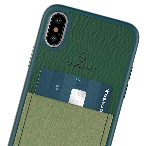 Sinjimoru iPhone X, XS Handyhülle, iPhone X Handy Hülle mit Kartenhalter/Kartenfach, iPhone X Wallet Case, Kartenetui. Smart Wallet Handy Case iPhone X, Sinji Pouch Case for iPhone X, Grün. - Handy Case Pouch Wallet