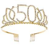 Frcolor 50e anniversaire diadème strass anniversaire diadème couronne bandeau avec peigne à cheveux (or)