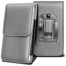 SHARP AQUOS CRYSTAL Holster Case - ( Grey ) Universal Vertical Pouch Flip Belt Clip PU Leather Wallet Case Bag ( SHARP AQUOS Funda Crystal Case - ( gris ) Universal funda Vertical Flip Clip de cinturón de cuero pu Bolsa funda monedero  )