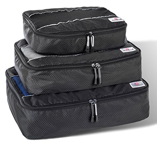 Suvelle 3pc Set Packing Cubes Nylon Travel Luggage Organizers & Compression Pouches