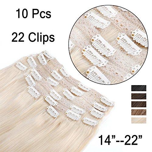 (35cm-55cm) Clip In Extensions 10 Teiliges SET 160g 100{578675c9638282857a72bcd1ecdfadd79d4cf4dbb0bd049d4539b5a67083063f} Remy Echthaar für Komplette Haarverlängerung glatt Haarteile (60#, Platinum Blonde, 50cm)