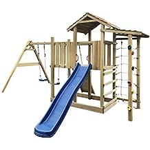 vidaXL Parque Infantil con tobogán, escalera y columpios 516x450x270 cm madera