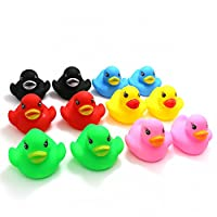 Novelty Place Float & Squeak Rubber Duck Ducky Baby Bath Toy for Kids Assorted Colors (12 Pcs)