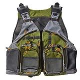 SEGRJ Outdoor Angelweste verstellbar Herren Reißverschluss Mesh Atmungsaktiv Multi Taschen Tackle Handy Werkzeug
