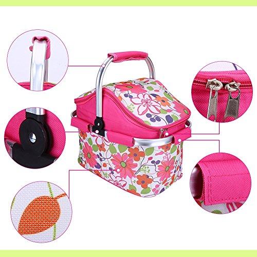 Cesto del picnic di Tragetasche per il campeggio di picnic che griglia le attività esterne sacchetto di frigorifero ( Colore : Rosa ) Rosa