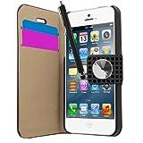 SAMRICK Custodia a libro in pelle morbida, con diamanti, a portafoglio, con pellicola display, panno in microfibra e penna stilo capacitiva per Apple iPhone 5/5S, colore: nero