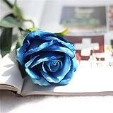 Unechte Blumen, IHRKleid Künstliche Deko Blumen Gefälschte Blumen Blumenstrauß Seidenrosen Wirkliches Berührungsgefühlen, Braut Hochzeitsblumenstrauß für Haus Garten Party Blumenschmuck (Blau, 1)