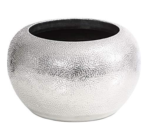 Dehner Übertopf Rosella, Ø 28 cm, Höhe 18 cm, Keramik, silber