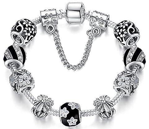 SaySure - Silver Plated Original Luxury Pan Style Charm bracelets